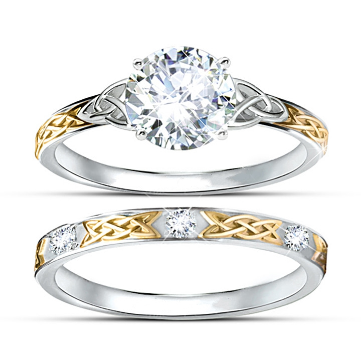 Centre 1ct Simulated Diamond Wedding Set Two Tone Gold Plated
