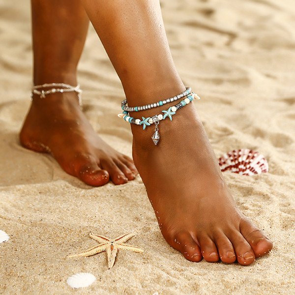 Boho Women Starfish Shell Barefoot Chain Anklet Beach Bracelet Jewelry Gift New