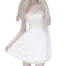 2019 Summer New luxury women dress kawaii Dresses White sexy Lace Strapless dresses female Chest Cross Ribbon Bow Stra Gown free цены