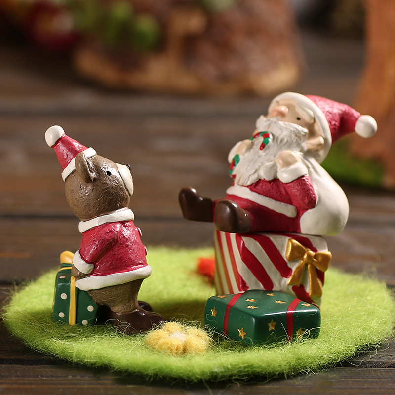 Home Decor 1 Piece Christmas Gift Ornament Small Statue Desktop Decor Mini Snowman Corgi Pig Bear Figurine Sculpture For Kids Children Girl High Quality And Inexpensive