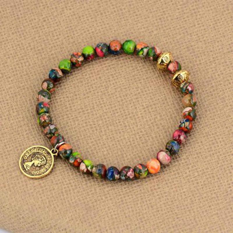6 MM koralik bransoletka naturalne kamienie budda szczęście złoty urok koralik bransoletki Boho Stretch bransoletki bransoletki biżuteria medytacja
