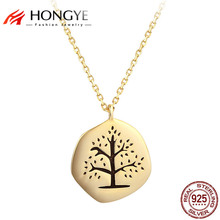 HONGYE European Retro Gold Silver Color Vintage Jewelry Black Carving Tree of Life Necklaces Pendants Women 925 Silver Jewelry