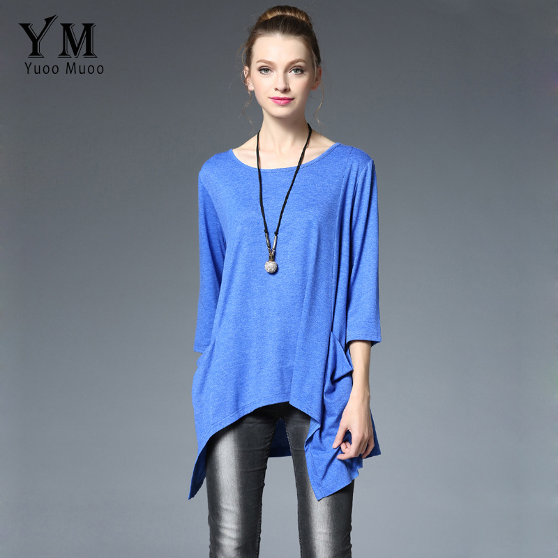 YuooMuoo New T Shirt Women Casual Blue Tops Plus Size Asymmetrical T shirt with Two Pockets Fashion Women Clothing