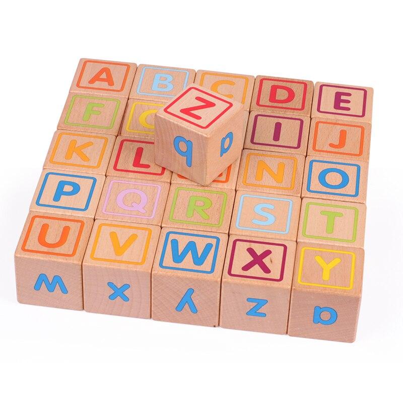 2019 Nouveau Bébé Gros blocs bloc de bois 26 pièces D'apprentissage jouets éducatifs pour enfants Animaux mots lettre apprendre cadeaux pour Bébé