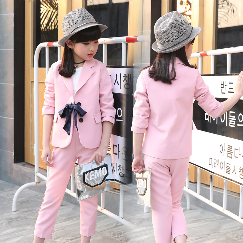 все цены на 2018 New Children's Formal Suit Set Girls Wedding Party Suits & Blazers Formal Suits Bow Pattern Wear Coat+Pants 2pcs Suit Set онлайн