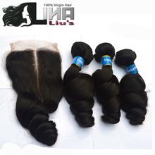 Grade 7A Brazilian Virgin Hair With Closure Cheap Brazilian Human Hair Weave 3 Bundles Brazilian Loose Wave With Lace Closure