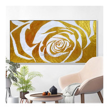 New Arrivals Hand-painted High Quality Gold Rose Oil Painting on Canvas Large Picture Abstract Flower