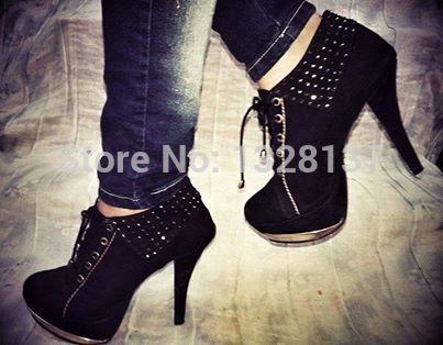 Fashion Designer Brands 2016 Women Charm Shoes Suede Lace Up Black Platforms Shoes High Heels Handmade Size 14 sapatos femininos