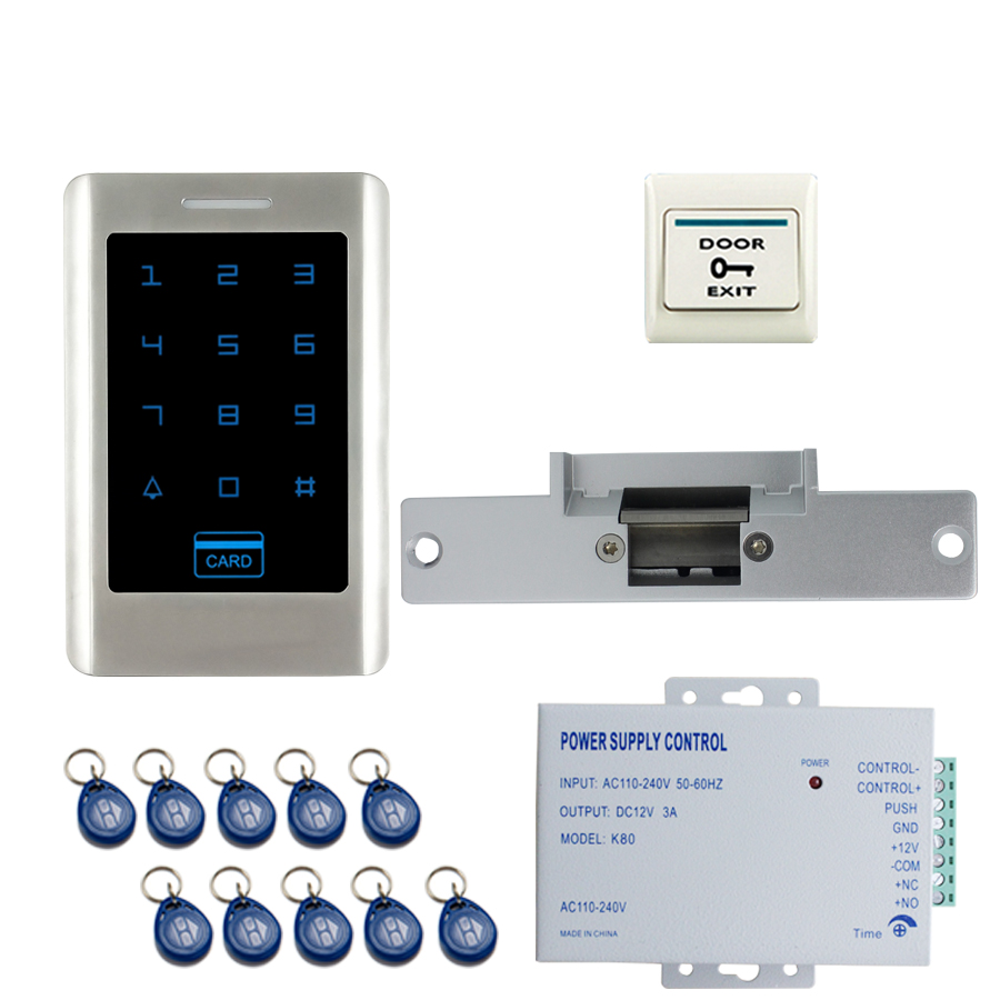 JERUAN FREE SHIPPING New DIY Touch Keypad Metal RFID Door Entry Access Control Kit + Electric Door Strike Lock + power Wholesale free shipping touch keypad access control rfid card and touch keypad access control