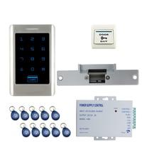 JERUAN FREE SHIPPING New DIY Touch Keypad Metal RFID Door Entry Access Control Kit + Electric Door Strike Lock + power Wholesale