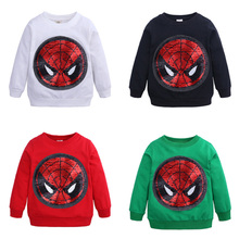 купить 2019 new fashion boy T-shirt cartoon casual cotton spiderman boy spring and autumn long-sleeved children's clothing по цене 511.93 рублей
