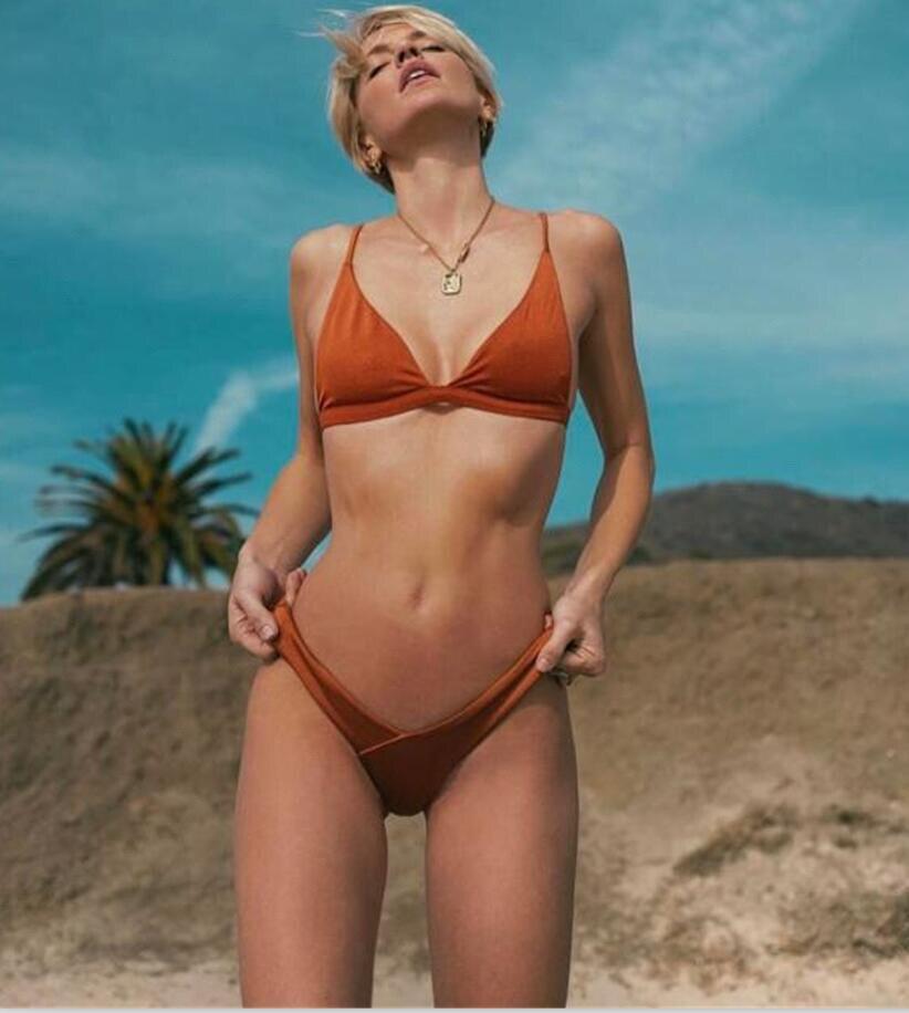 2017 V Style Orange Color Brazilian Bikini Set Swimsuit Bathing Suit Biquni