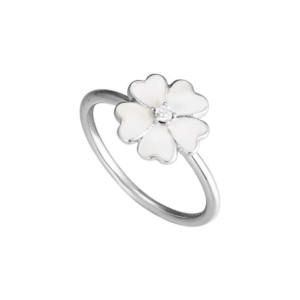 100% 925 Sterling Silver Primrose แหวนเคลือบสีขาวสำหรับเครื่องประดับ DIY ผู้หญิง Prom Party น่ารักแหวนของขวัญ