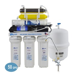 المنزلية 7 مرحلة إعادة التمعدن التناضح العكسي فلتر لمياه الشرب نظام مع 6 W معقم بالأشعة فوق البنفسجية-50GPD/امدادات الطاقة: 220 V