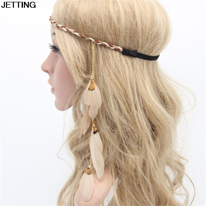 Peacock Feather Headband Indian Hippie Bohemian National Wind Flow Su Fasheng Wooden Bead Hair Jewelry