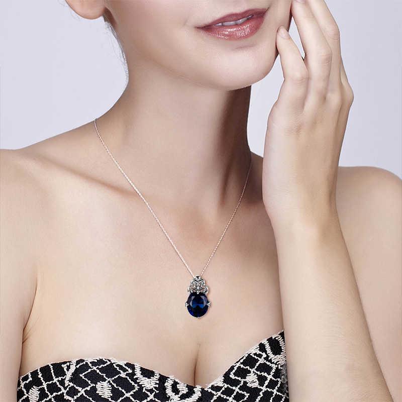 Szjinao יוקרה בריטי קייט נסיכת דיאנה אירוסין חתונה ספיר תליון אמיתי 925 סטרלינג תכשיטי כסף סיטונאי