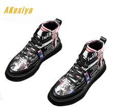 Newest designer Men nationality graffiti printing Casual Flats high tops  Platform Shoes Male dress Wedding Moccasins 8b31fa2343ed