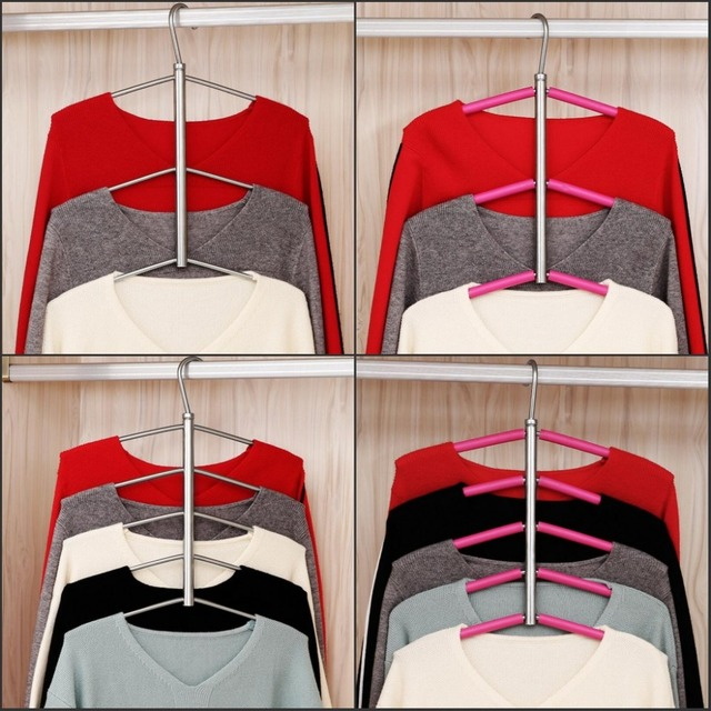 New Sweater Jacket Shirt Hanging Clothes Hanger 3/5 Layers Clothing Storage Space Saver Neat & New Sweater Jacket Shirt Hanging Clothes Hanger 3/5 Layers Clothing ...