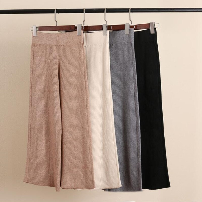 girl section knitted   wide     leg     pants   female 2018 summer Korean loose high waist casual   pants   trousers   pant