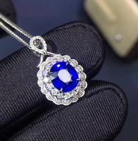 Fine Jewelry Customized Size Real 18K White Gold AU750 100% Natural Royal Blue Sapphire Gemstones Pendants for Women Necklace