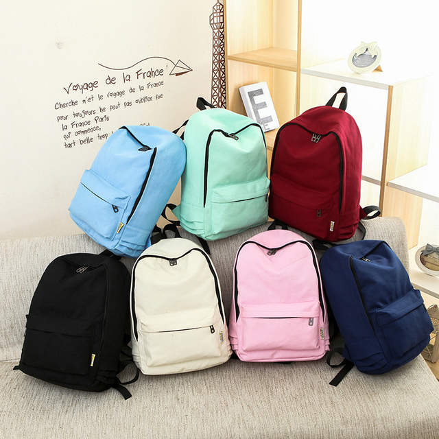 a7a4e8ca78a9 US $12.6 |Bokinslon Women Fashion Backpacks Canvas Solid Color Girls  Backpacks For Student Simple College Wind Female Casual Travel Backpa-in ...