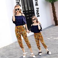 Matching Mother And Daughter Clothes Summer Clothes Set Out Of Shoulder T Shirt Print Pants Two