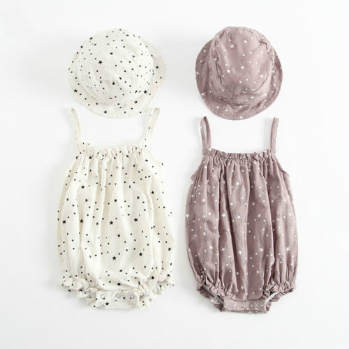 New 2Pcs Newborn Infant Kids Baby Boys Girl Cotton Star Print   Romper   Jumpsuit Sleeveless Playsuit+Cute Hats Clothes Outfit