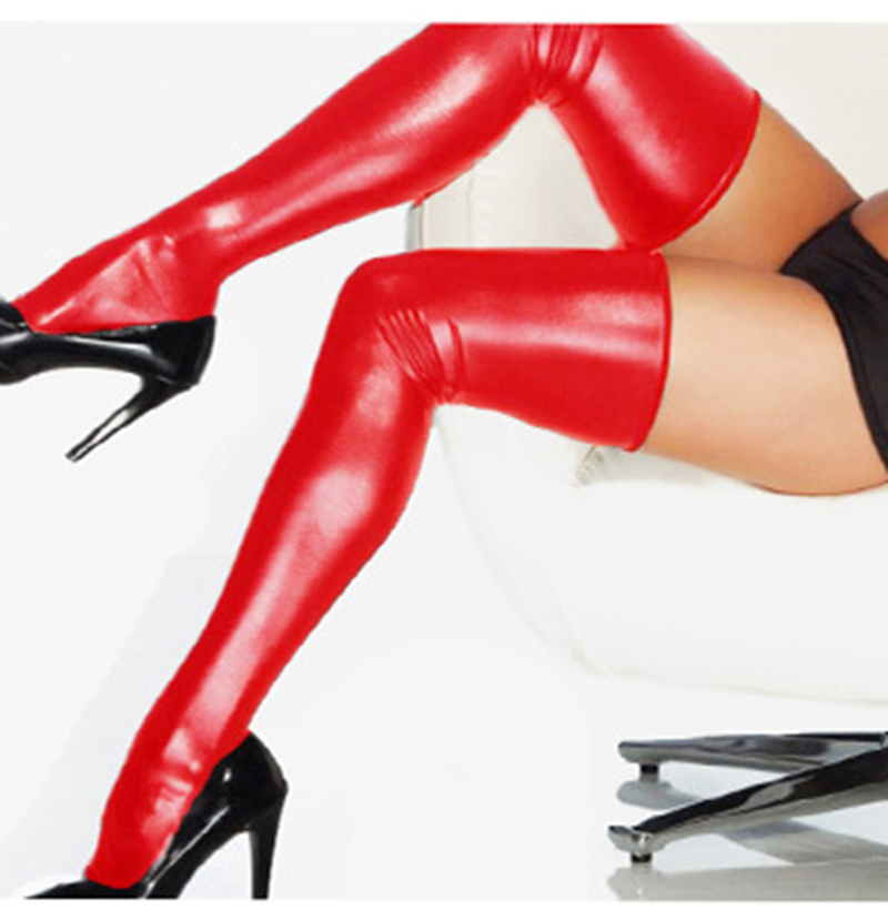 Wetlook HOT Sexy Night Club Latex Stockings Faux Leather Stockings Women Black Red Silver Purple Elastic Faux Leather Stockings (5)