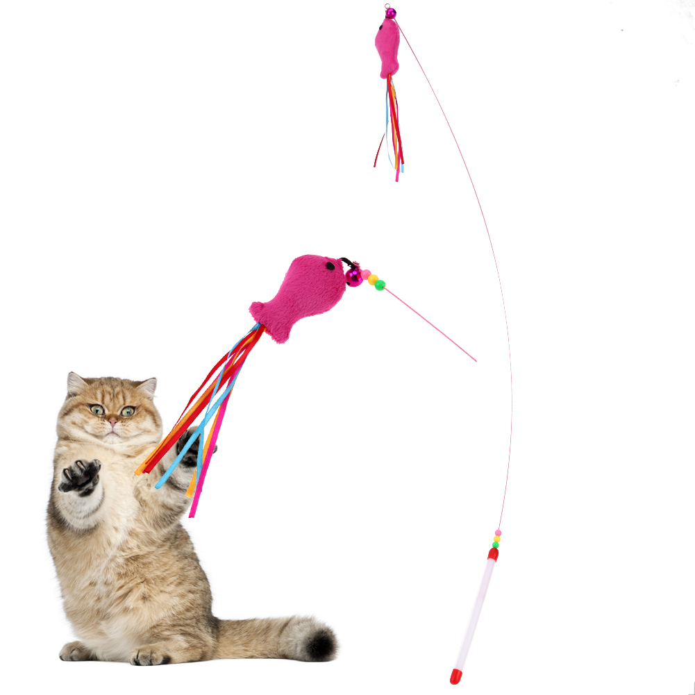 1Pc Pet Cat Toy Stick Toys Fish Design Teaser Training Wand Stick Plastic Floss Toy for Cats Kitten Pets Cat Products