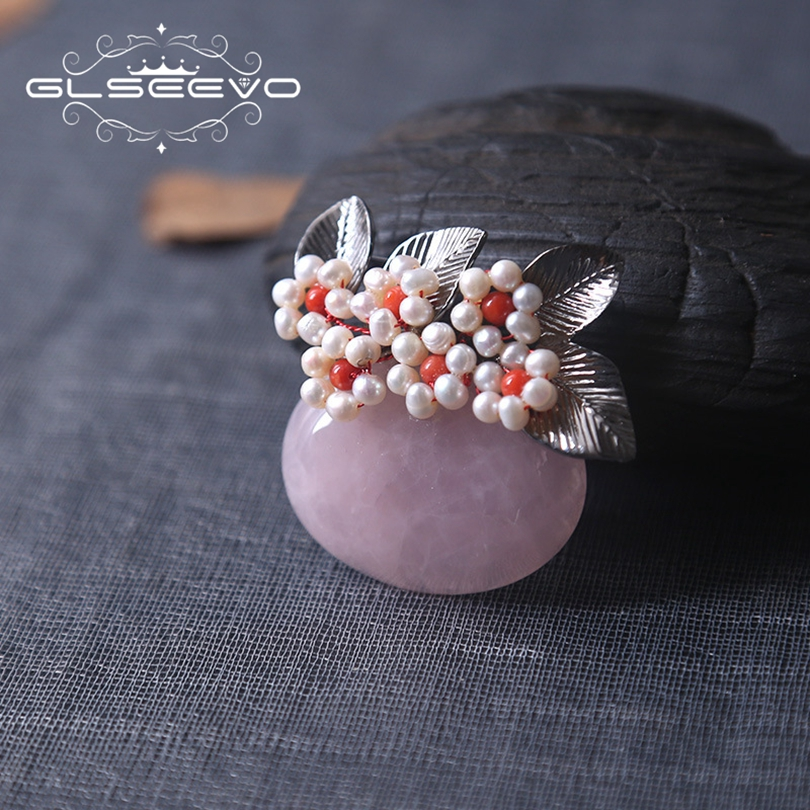 купить GLSEEVO Natural Pink Crystal Fresh Water Pearl Brooch Pins And Brooches For Women Gifts Dual Use Luxury Fine Jewelry GO0189 онлайн