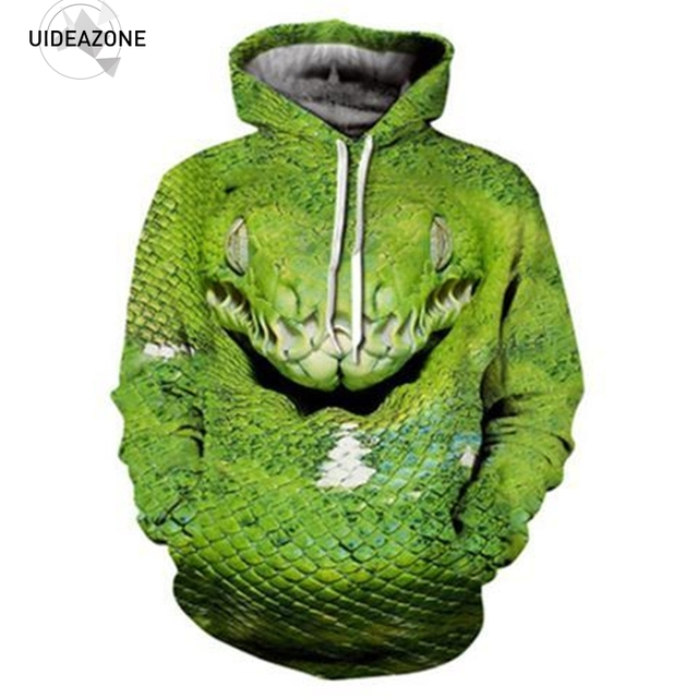 72f213d43 Cool Snake 3D Hoodie Men Women Green Viper Print Pullover Hody Tops 2018  Autumn Sportswear Tracksuit Casual Hooded Sweatshirt