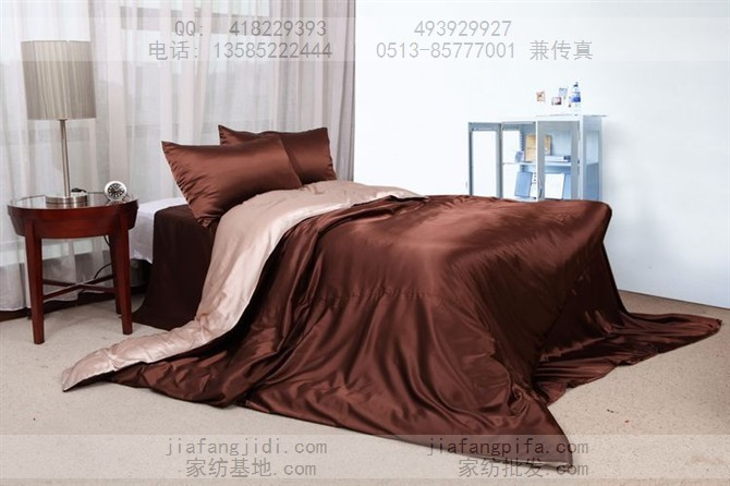 Beige brown solid mulberry silk bedding set king size queen duvet cover linen bed sheet bedspread coffee