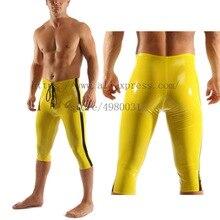Новинка Желтый Цвет Передняя шнуровка Дизайн латекс укороченные брюки с черными полосками украшения для мужчин