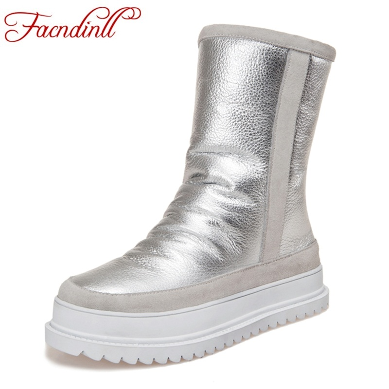 Фотография FACNDINLL fashion women winter snow boots shoes flat with platform shoes woman casual ankle boots real fur high quality shoes