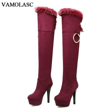 VAMOLASC New Women Autumn Winter Warm Faux Suede Over the Knee Boots Sexy Thin High Heel Boots Fur Women Shoes Plus Size 34-43