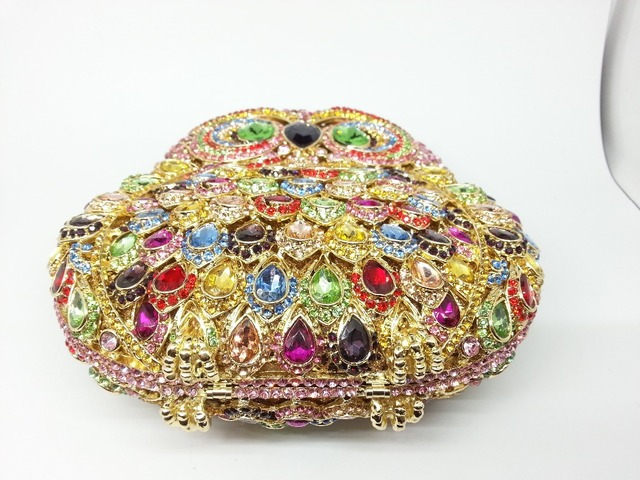 Diamond Gold Crystal Owl Clutch Purse
