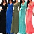 Летние Женщины dress Полиэстер Оболочка девушка длинные dress Three Четверти V-образным Вырезом Solid 3/4 Рукава Wrap Maxi Dress женской одежды