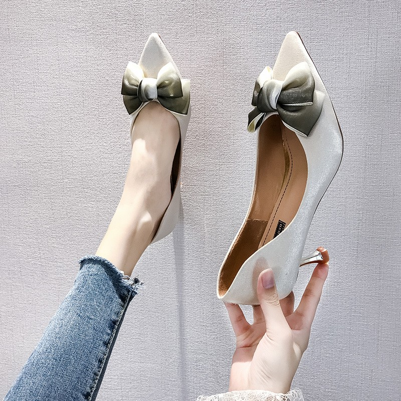 Thin High Heels Sexy Ladies Pumps Women Shoes 2019 Autumn Pointed Toe Bow Knot Shallow Wedding Shoes Woman Pumps Office Shoes 29