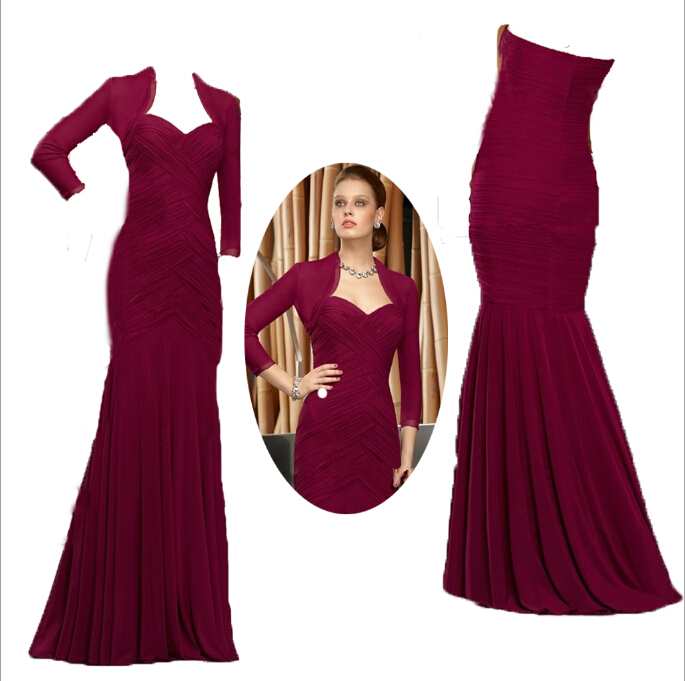 Three Quarter Sleeve women dress 2015 Mermaid vestido de festa Long Sleeve Party Dress Evening Gowns Mother Of The Bride Dresses in Mother of the Bride Dresses from Weddings Events