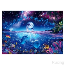 Full 5D Diamond Embroidery Night sea creatures landscape Cats Cross Stitch Painting Mosaic Home Decor gift