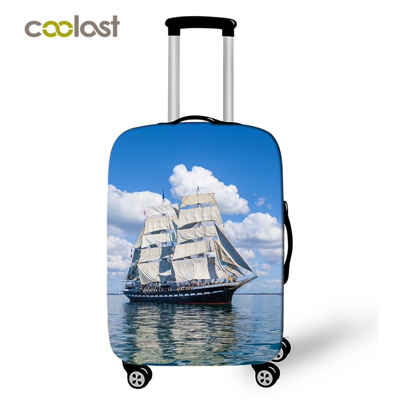 Sailboat Trolly Suitcase Protective Cover Elastic Sea Luggage Cover Carry On Bagage Case Bag Cover Dust-proof Travel Accessories