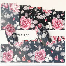 1 Sheet Nail Water Transfer Sticker Black flower/feather/fruit/cake Nail Art Decor Slider For Nail Manicure