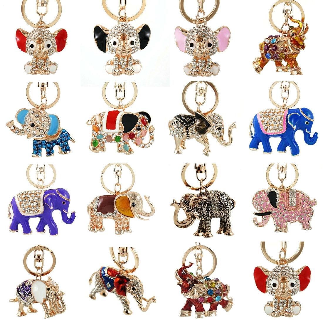 3D Auspicious Multiple Styles Elephant Key Holder Chains Whole Enamel Colorful Crystal Bag Pendant Keyrings KeyChains For Women