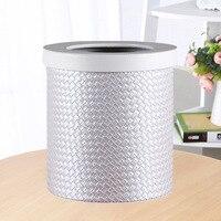 Creative Vintage PU Leather Trash Can Garbage Bucket Waste Bin Dustbin Wastebasket Paper Stationery Holder Basket