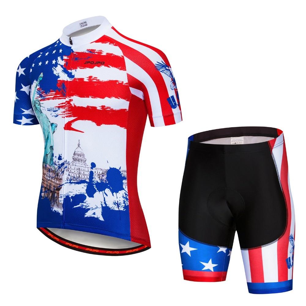 Summer Cycling Set Men 2018 USA Flag MTB Bike Clothing Bicycle Clothes  Maillot Ropa Ciclismo Cycling Jersey Sets Gel Pad Shorts d15aa7dcc