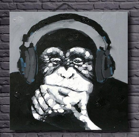 Hand Painted Listen Music Gorilla Canvas Oil Paintings Black White Wall Art Animal Painting For Home Decor Monkey In Calligraphy