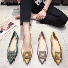 Bailehou Women Flat Shoes 2019 Elegant Bling Crystal Buckle Ballet Pointed Toe Flats Lady Shiny