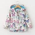Primavera 2017 Nuevas Muchachas de la Manera de la Chaqueta de Gabardina Niños Patrón ropa de Abrigo Abrigos Niñas Chaquetas
