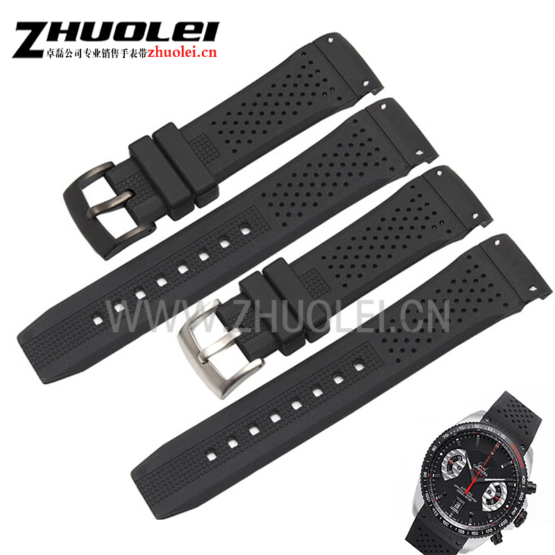 22mm black rubber watchband straps with Black PVD stainless steel Curved end Waterproof rubber strap for men Luxury watches band black silicone rubber watchband curved end for special watches sport style watch strap 22mm for replacement bracelets promotion