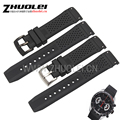 22mm black rubber watchband straps with Black PVD stainless steel Curved end Waterproof rubber strap for men Luxury watches band